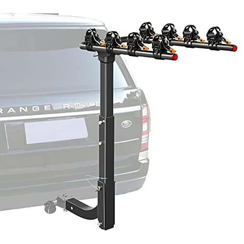 LEADRACKS 4 Bike Hitch Rack Mount with One Hitch Tightener for Car, SUV, Truck, Jeep, Hatchback RV ect, Bicycle Carrier for Sport & Outdoor Cycling, Removable Saddle, Orange Straps, 2'' Receiver