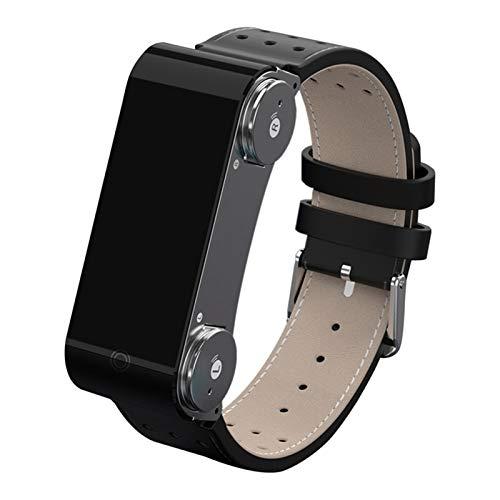 LYB Pulsera Inteligente Doble Bluetooth Auriculares En Ejecución Paso Pasos Pulsera De Pantalla De Color Ritmo Cardíaco (Color : Black)