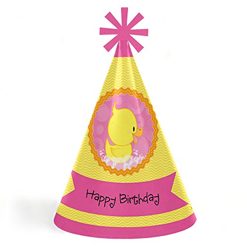 Pink Ducky Duck - Cone Happy Birthday Party Hats for Kids and Adults - Set of 8 (Standard Size)
