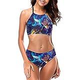 Lux - Conjunto de bikini halter para mujer, de secado rápido, 2 piezas, acolchado, ropa de playa