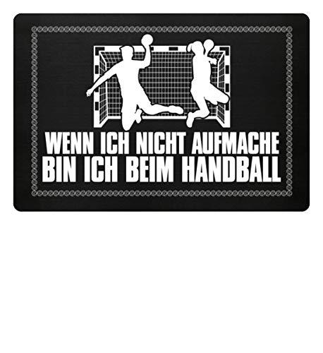 Shirtee Wenn ich nicht aufmache bin ich beim Handball Handballschuhe Trikot Mann Frau Geschenk - Fußmatte -60x40cm-Schwarz