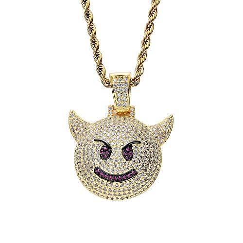 Union Power Hip Hop Emoji Pendant Necklace, Bubble Smile Face Iced Out Devil Demon Necklace (Gold)