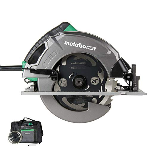 Metabo HPT Single Handed Bevel Adjustment Circular Saw Kit With Integrated Dust Blower and Premium Framing/Ripping Blade, C7SB3 7-1/4
