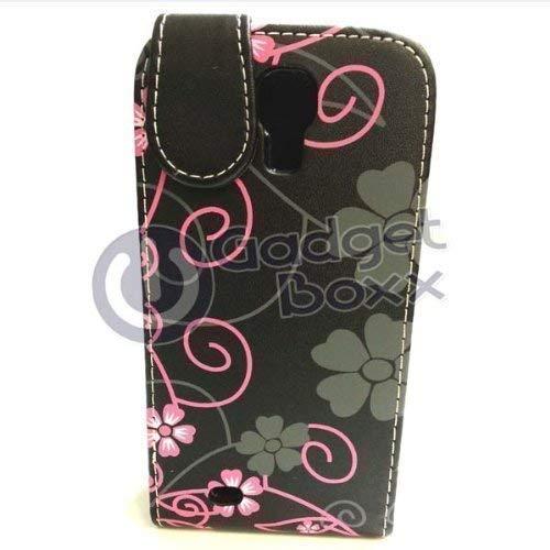 GADGET BOXX BLUME schwarz und pink STIL LEDER FLIP POUCH FALL Hülle für Samsung Galaxy S4 MINI I9195