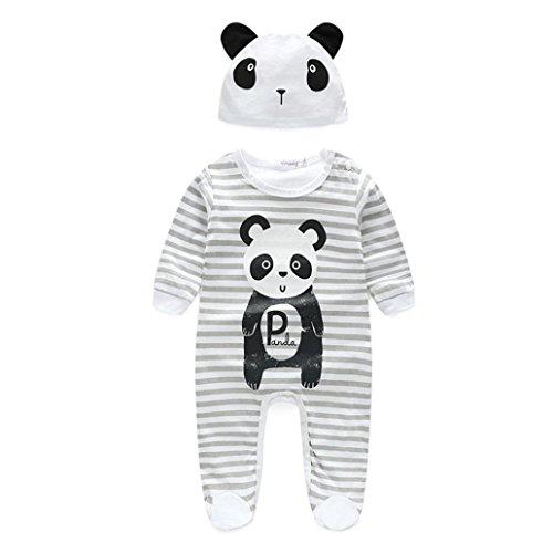 kingko® 1Réglez Newborn Infant Bébés garçons filles manches longues Romper + chapeau Jumpsuit Bodysuit Vêtements Outfit (12M, gris)