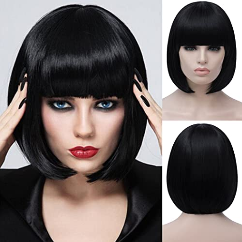 Bopocoko Black Bob Wigs for Women, 12'' Short Black Hair Wig with Bangs, Natural Fashion Synthetic Wig, Cute Colored Wigs for Daily Party Cosplay Halloween BU027BK