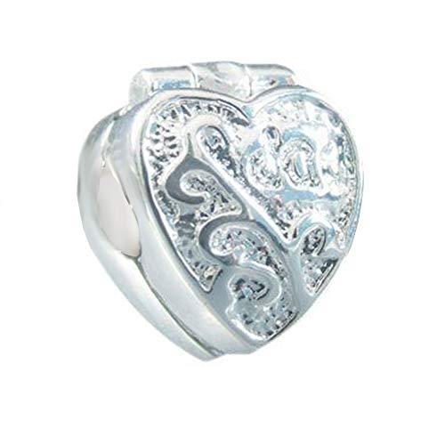 Andante-Stones 925 Sterling Silber Bead Clip Stopper Herz Element Kugel für European Beads + Organzasäckchen