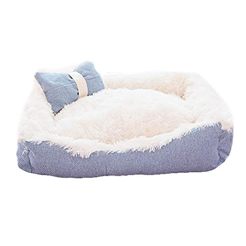SHPEHP Deluxe Pet Bed, IKEA Pet Bed Cama para Perros con Cuddly Plush cálida Cama para Mascotas de Felpa Cuddler Pet Bed Perros medianos y Grandes Perros Transpirables-Blue-S