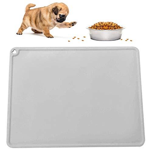 DMFSHI Alfombra Comedero Perro, Alfombrilla Mascotas Comida, Mantel Individual de Silicona Antideslizante Impermeable de Grado Alimenticio para Mascotas (Gris)