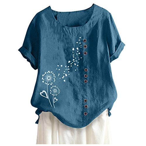 TUDUZ Blusas Mujer Manga Corta Camisas AlgodN y Lino Tops Bohemia Camisas Bordadas Florales(Z Azul,L)