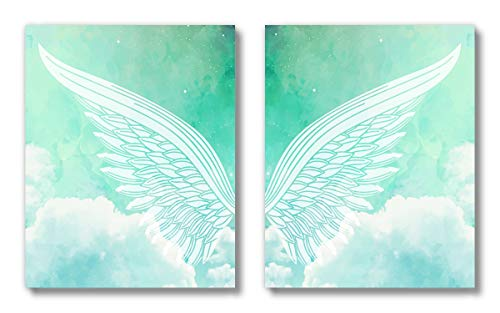 Brooke & Vine- Angel Wings Girls Bedroom Wall Decor Art Prints -(UNFRAMED 8 x 10)- Inspirational Christian Religious Kids Baby Girl Nursery Tween Women Posters for Home, Bedroom, Dorm, Office – Angel Wings