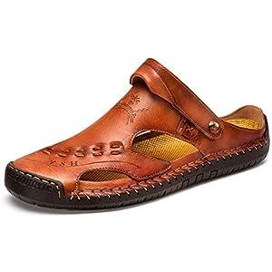 [FJ] サンダル メンズ 手作り オフィス シューズ 本革 滑り止め 靴 アウトドア 2WAY スリッパ (26.5,ブラウン)