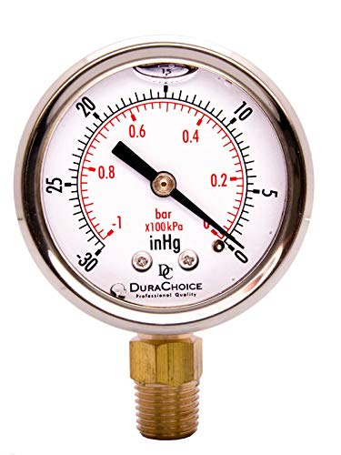 "2"" Oil Filled Vacuum Pressure Gauge - SS/Br 1/4"" NPT Lower Mount, 30HG/0PSI"