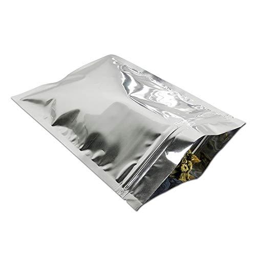 100 bolsas de embalaje con cremallera de papel de aluminio Mylar Taches, sellables térmicos, resistentes al agua, de larga duración, para almacenar alimentos, color plateado, 10 x 15 cm