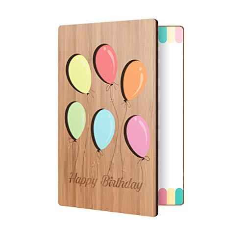 Bamboo Birthday Card With Balloon Design: Premium Handmade Wood Card Perfect Way To Say Happy Birthday; Wood Happy Birthday Cards For Men & Women
