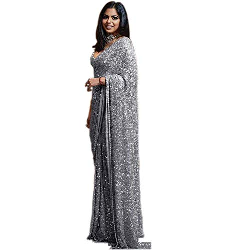 Ultimate Ecommerce Women's Grey Sequin Cocktail Saree With Blouse Piece
