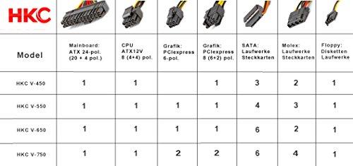 HKC® V-Power 750 Watt ATX PC-Netzteil, Schutzschaltkreise: OPP, OCP, OVP, SCP, 20+4pin Stromversorgung, AKTIV PFC, leise, 120mm Fan (V-750)