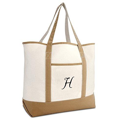 DALIX Women's Natural Tote Bag Shoulder Bags Brown With Monogram Letter H