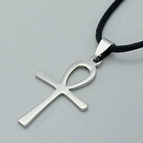 ZJJLWL Co.,ltd Collar Collar Collares egipcios Cruz de Acero Inoxidable Colgante Cuerda Joyería Religión Egipto Jeroglíficos Longitud 45Cm