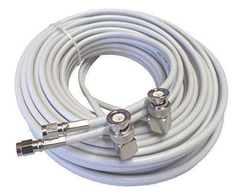 15m hochwertiges low loss TWIN-Koax-Antennenkabel für Novero (Funkwerk) Dabendorf LTE 800 1800 2600 MIMO Antenne in smartem hellgrau, 2xBNC-Winkelstecker – 2xSMA-Stecker