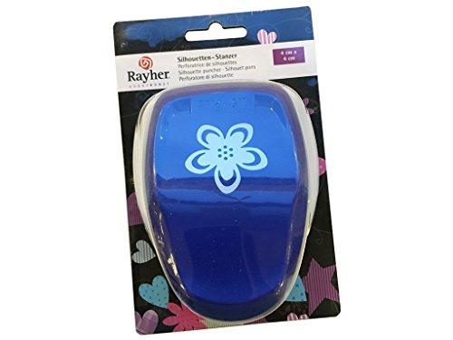 Rayher Hobby 69076000 Silhouetten-Stanzer, Blüte, 4 x 4cm, geeignet für Papier/Karton bis zu 200g/m²