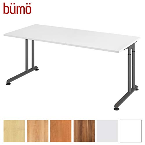 bümö® Stabiler Schreibtisch höhenverstellbar 180 x 80 cm   Bürotisch Platte: Weiß - Gestell: Graphit   Büroschreibtisch mit Höheneinstellung   Tisch für\'s Büro