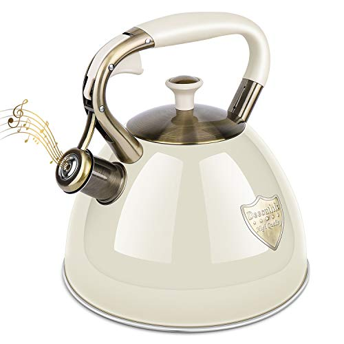 Tea Kettle Stove Top 3.17Quart Modern Whistling Tea Kettle-Surgical 5 Layer Stainless Steel Teakettle Teapot with Cool Toch Ergonomic Handle Teapot - Pot For Stove Top
