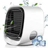 Air Cooler, Evaporative Air Cooler& Portable Air Conditioner/Humidifier, 2021 Mini Air Conditioner Noiselessness with USB Charge, 3 Adjustable Speeds with LED Lighting for Room Home Office (M)