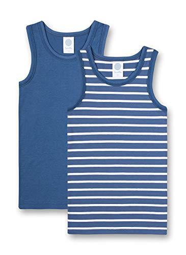 Sanetta Unterhemd im Doppelpack Blau Maglietta Intima in Confezione Doppia, Blu-Ink Blue, 140 cm Bambino