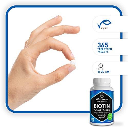 Vitamaze® Biotina 10000 mcg + Selenio + Zinco per Pelle, per la Crescita dei Capelli e Unghie Sani, 365 Compresse per 12 Mesi, Vitamina B7, Integratore senza Additivi non Necessari, Qualità Tedesca