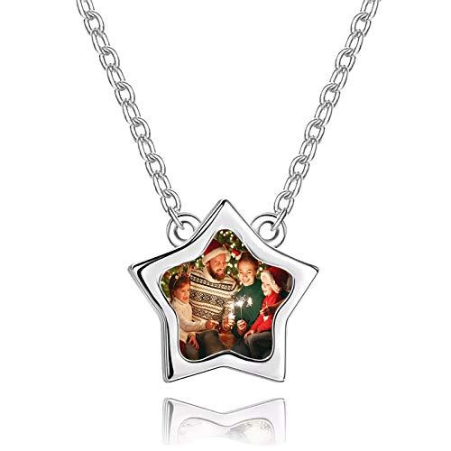 Collar de foto personalizado Collar de estrella de cinco puntas Collar de plata Collar con placa de identificación(Plata 24)