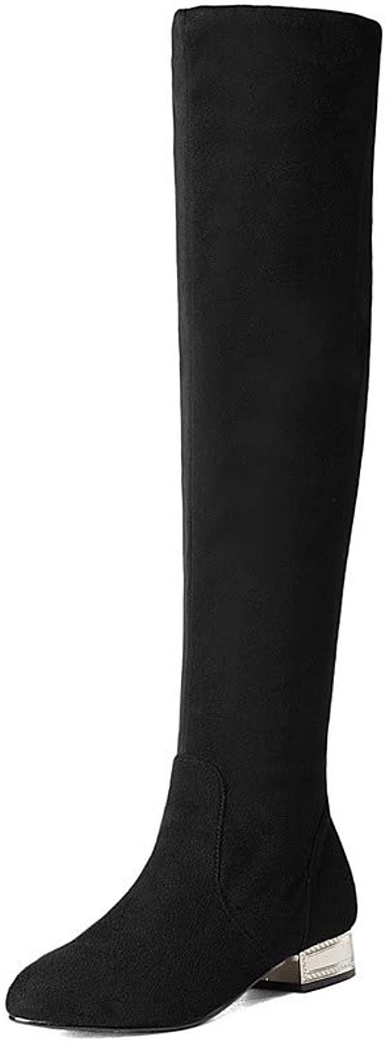 AllhqFashion Women's Closed-Toe Low-Heels Imitated Suede Knee-High Solid Boots, FBUXD030986