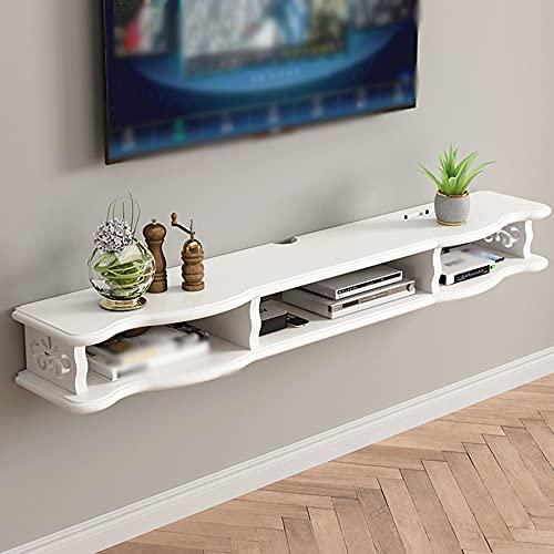 Gabinete de TV colgante de pared con estante flotante, gabinete colgante de dormitorio de sala de estar minimalista moderno, soporte de caja de cable de receptor abierto/White / 140cm