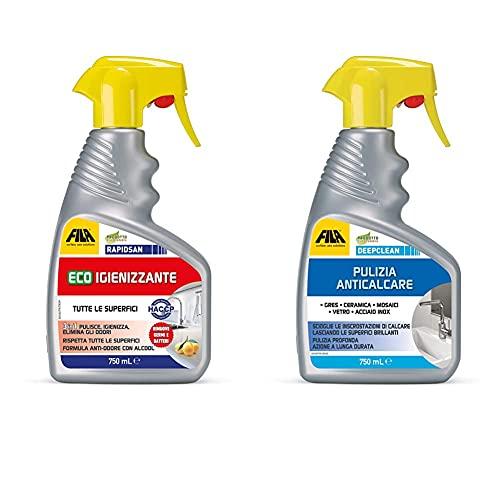 FILA Surface Care Solutions Rapidsan, Eco Igienizzante, Pulisce & Spray Anticalcare Per Il Bagno Professionale, 750 Ml, 750 Unità