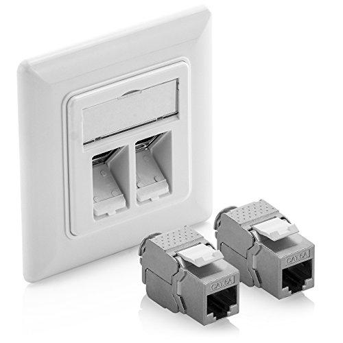 deleyCON 1x Keystone Dose Netzwerkdose Datendose Unterputz + 2X CAT 6a Keystone Jack Modul RJ45 Buchse - CAT Netzwerk Verlegekabel vollgeschirmt Weiß