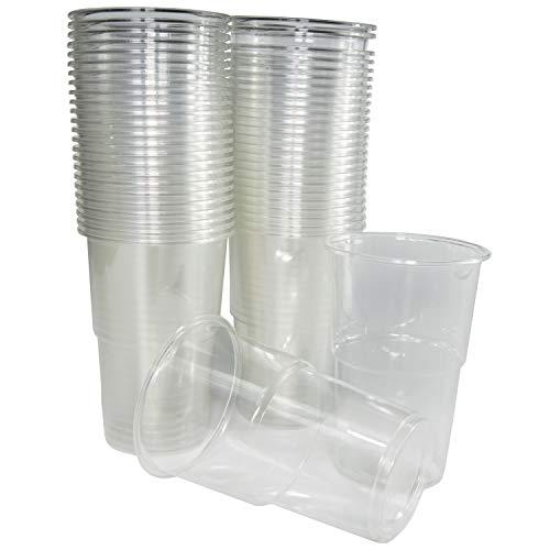 50 vasos de 300 ml. Vasos biodegradables de plástico orgánico reutilizables. Vasos PLA transparentes para bebidas frías, Vasos ecológicos reutilizables para fiestas, campings, eventos y cumple