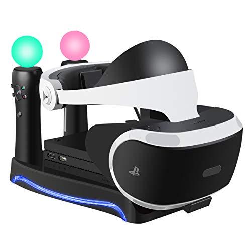 Halterung für Neu PlayStation 4 VR Brille Headset Ständer mit LED-Umgebungslicht und Halterung für Prozessoreinheit (CUH-ZVR2), Dual PSVR MOVE Controller PS4 Ladestation - Schwarz