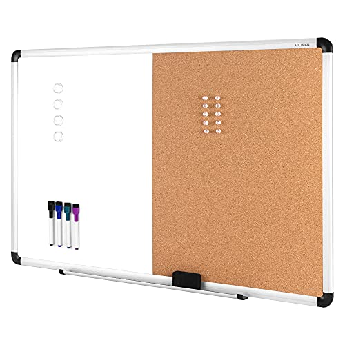 """VUSIGN Combination Magnetic Whiteboard & Corkboard, 24"""" x 36"""", Wall Mounted Notice Bulletin Board Dry Erase/Cork Board Combination with Aluminum Frame"""