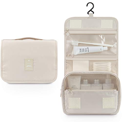 Makeup Bag,Mossio Unisex Multifunction Bottles Grooming Shampoo Travel Case TSA Approved Beige