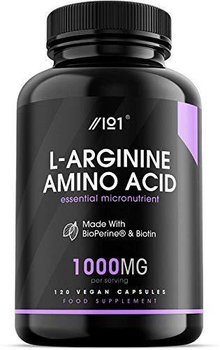 L-Arginine with BioPerine & Biotin Capsules - 1000mg - Potent Amino Acids - Non-GMO, Gluten Free, 120 Vegan Capsules (1 Pack)