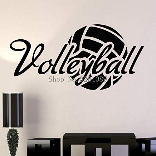 zhuziji Calcomanías de Pared de Vinilo de diseño Simple Decoración del hogar Sala de Estar Dormitorio Arte Voleibol Pelota Pegatinas Deportivas Murales GIF único Color café 114x56cm