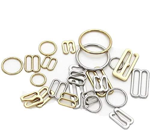 60 Pieces Bra Adjuster, MBODM Metal Underwear Adjustment Buckle Bra Hook Ring and Sliders Underwear Accessories(Gold,Silver) (6mm, Silver)