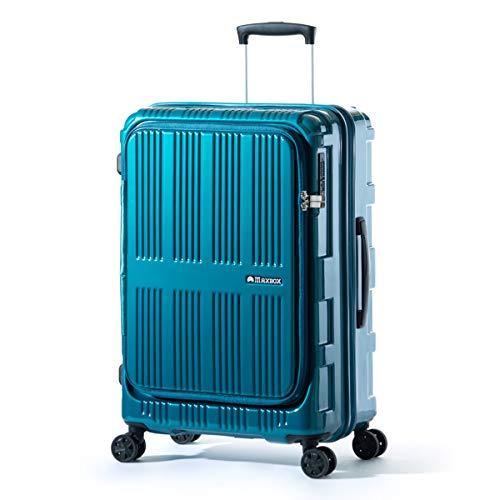 アジアラゲージ マックスボックス スーツケース フロントオープン 拡張 62L/70L Mサイズ 軽量 MAXBOX ALI-5611 (ターコイズブルー)