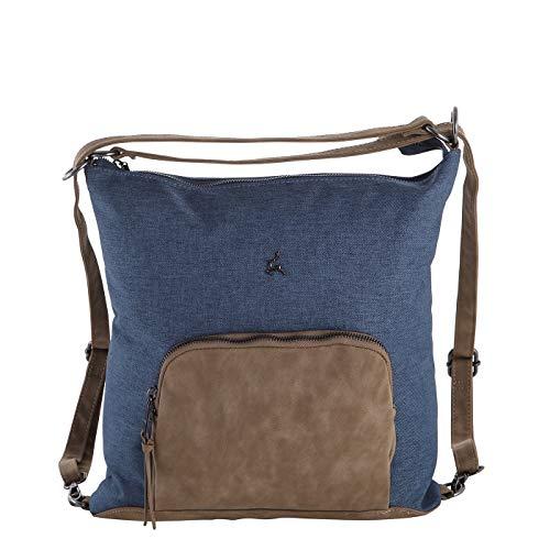 Prato Damen Rucksack Flanell Vintage2tone, 2in1 - Cityrucksack oder Umhängetasche, modischer und Leichter Tagesrucksack, Rucksackhandtasche für Frauen mit Kunstleder (36x37x5cm) (Cognac Blue)