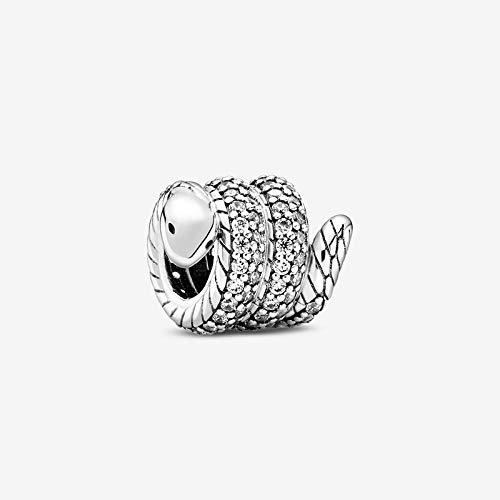 ZSCZQ 925Silver AutumnSparkling Wrapped Snake Charms Beads Fit Pulsera Original DIY joyería Fina para Mujeres