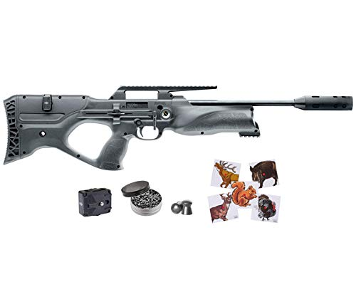 Wearable4U Walther Reign UXT PCP Pellet Air Rifle .25cal 870fps 100x Paper Targets and 150x .25 Lead Pellets with Spare 9-Shot Mag Bundle (Black)