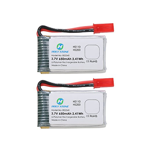 Holy Stone 2PCS 3.7V 650mAh Rechargeable Li-Po RC Drone Batteries for HS110W,HS200W