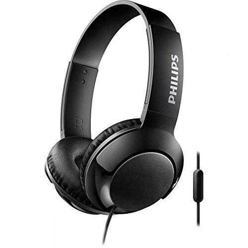 Philips Audio SHL3075BK/00 On Ear Kopfhörer (Voluminöse Bässe, Geräuschisolation, Hoher Tragekomfort, Freisprechfunktion, Flach zusammenklappbar) schwarz