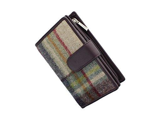 Borsa in Pelle e Tweed Mala Leather ABERTWEED, con Chiusura a Pressione 3124_40 Prugna