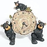 Willie Black Bear with Cub Holding a Birch Log Clock 8'